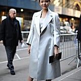 Understated elegance outside the Calvin Klein show.