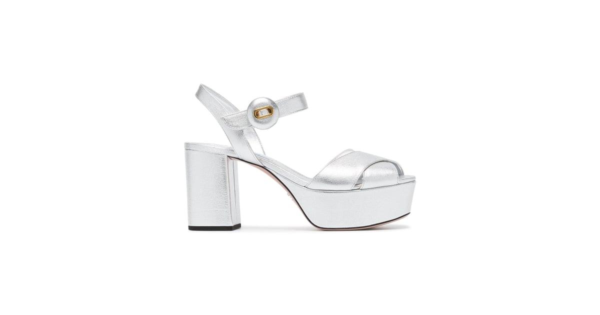 274674ac3ca Our Pick  Prada Silver 85 Leather Platform Sandals