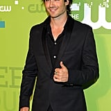 Ian Somerhalder gave the thumbs-up signal to press during a May 2011 event in NYC.