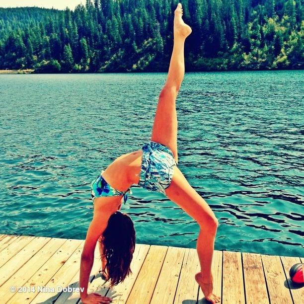 Nina Dobrev did yoga in her bikini. Source: Instagram user ninadobrev