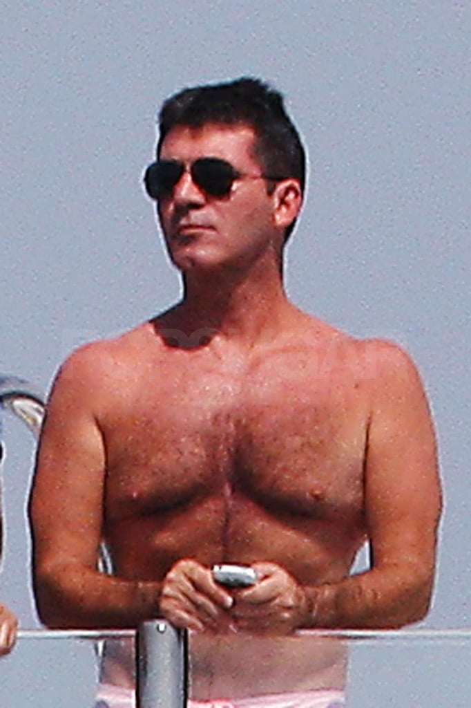 Simon Cowell sported pink trunks.