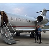 Victoria and David showed PDA in front of their private plane.