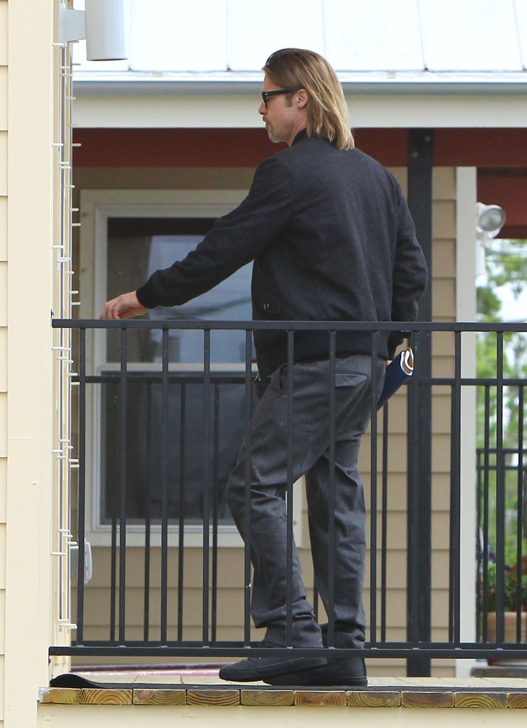 Brad Pitt dressed down for the day time outing.
