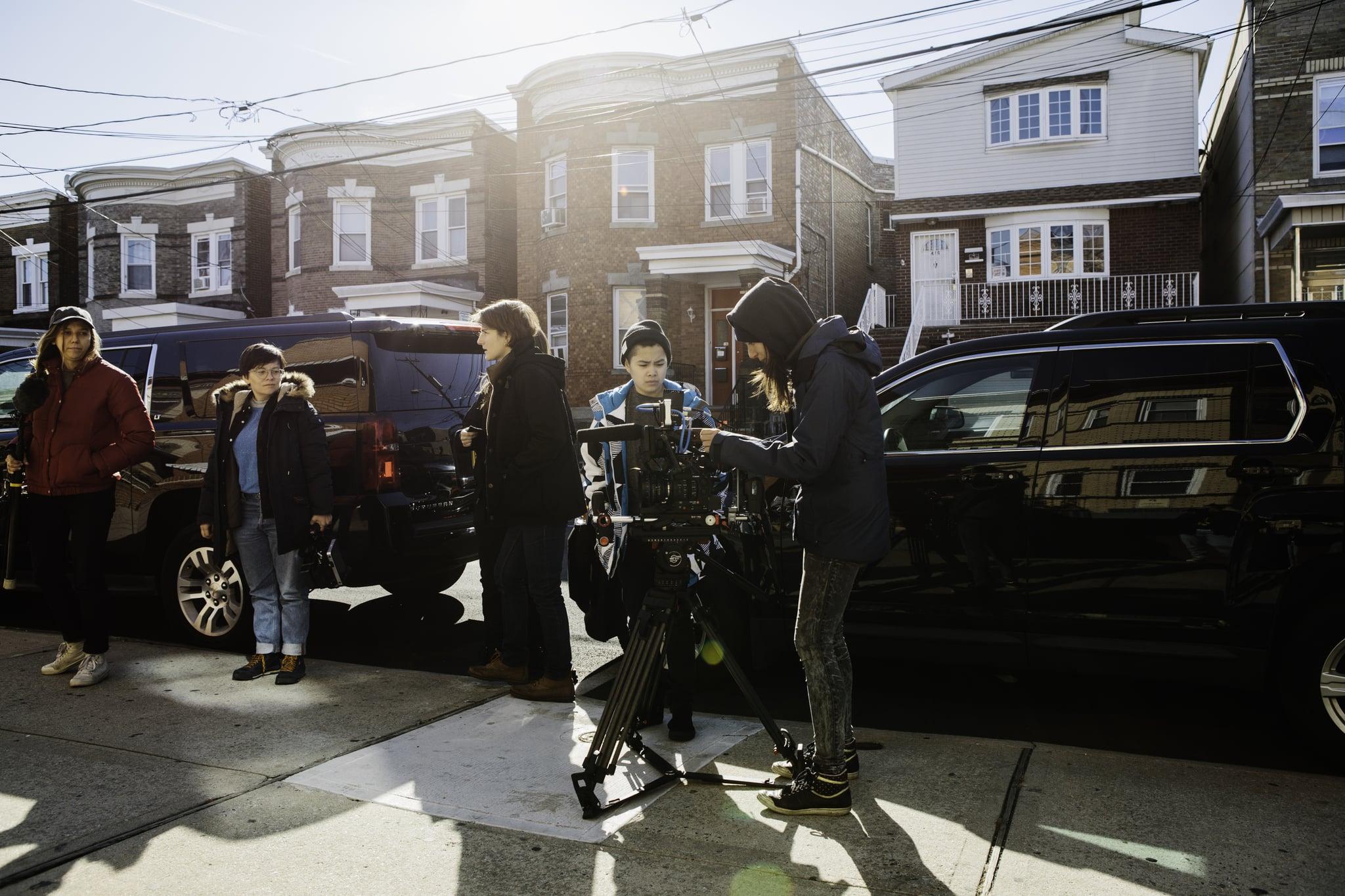 The crew shoots outside Shake's house