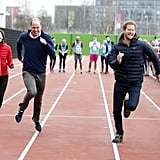 Kate, William, and Harry took part in a relay race during a training event to promote the charity Heads Together in London in February.