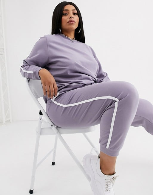 ASOS DESIGN Curve tracksuit sweat / basic jogger with tie with contrast binding
