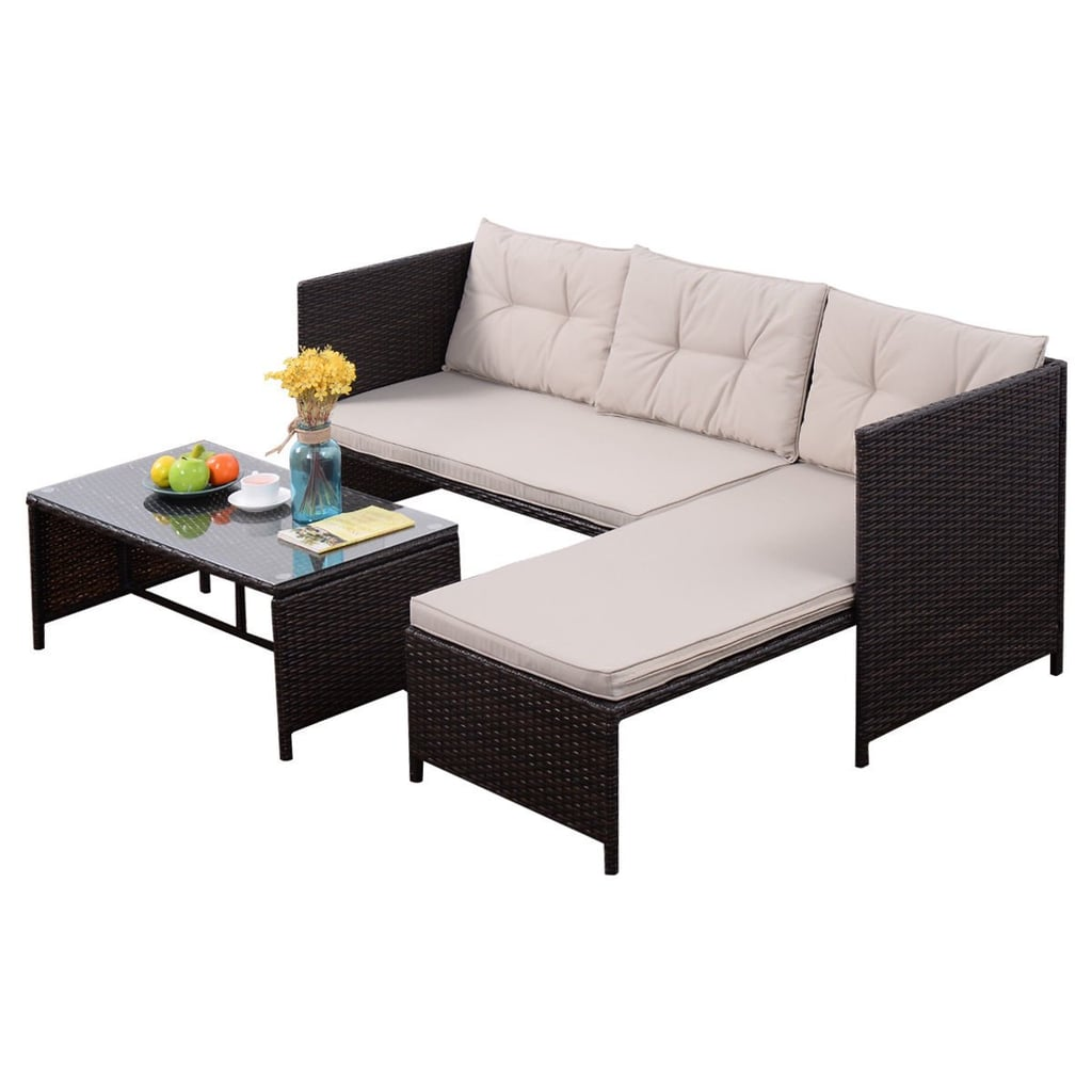 Goplus Outdoor Rattan Furniture Sofa Set Lounge Chaise