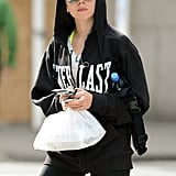 Scarlett Johansson wore workout gear and a hooded black sweatshirt in NYC.
