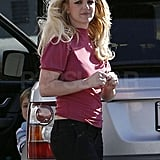 Brit let her blond locks fly freely in the wind.