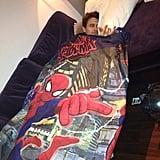 "James Franco napped at his ""nana's flat"" — we love the Spider-Man blankie! Source: Instagram user jamesfrancotv"