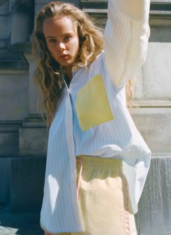 Zara Contrasting Strip Poplin Shirt