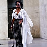 For a graphic effect, combine polka-dot pieces and finish with a clean white jacket.