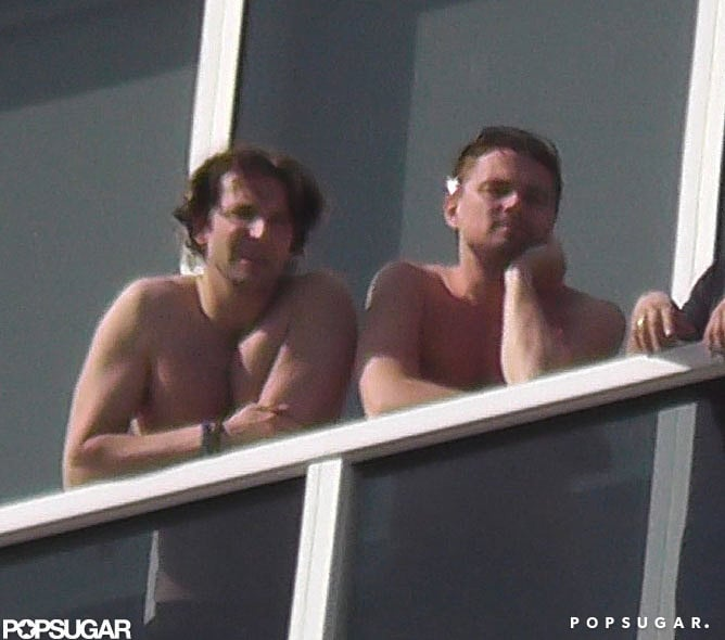 Buds Bradley Cooper and Leonardo DiCaprio hung out shirtless during a guys' getaway to Miami in February. Source: Coleman-Raynor