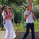 Matthew McConaughey, Camila Alves, Levi McConaughey, and Vida McConaughey walked in Manhattan.