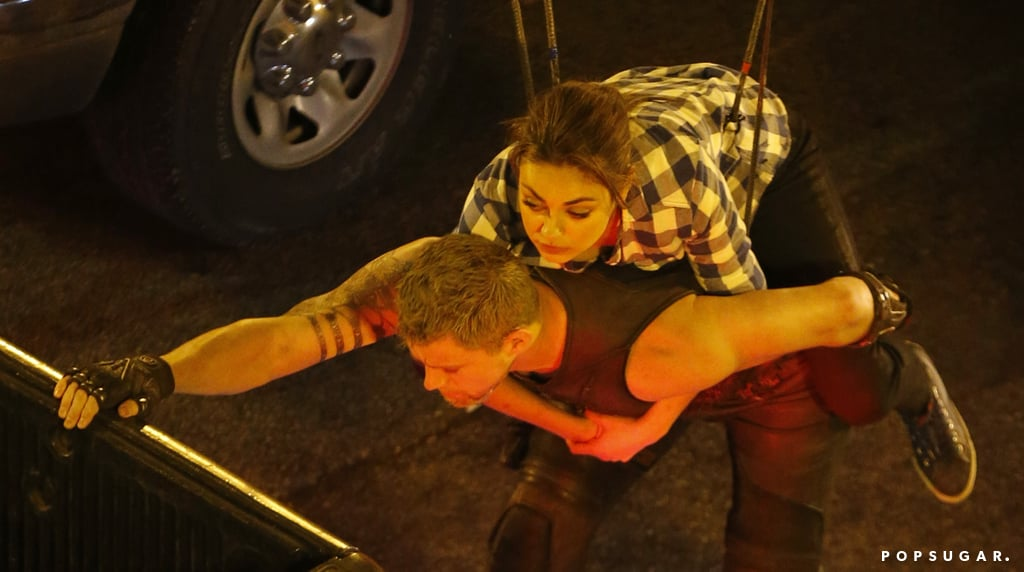 Mila Kunis and Channing Tatum rode on the back of a truck.