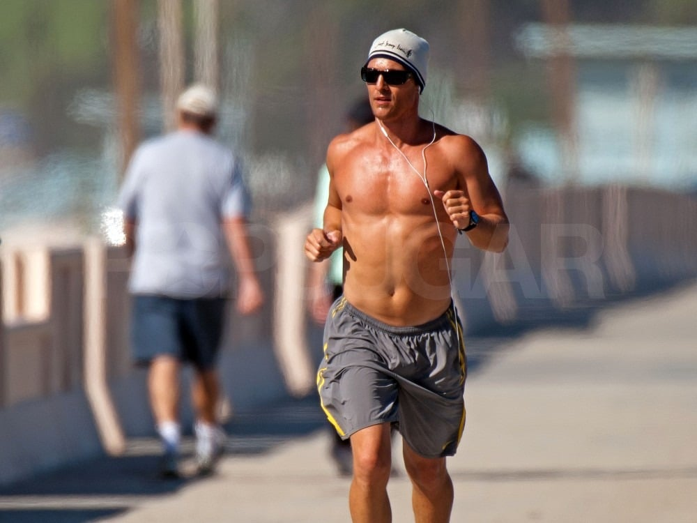 Pictures of Shirtless Matthew McConaughey Running Shirtless in Malibu