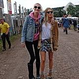Poppy Delevingne and Sienna Miller at Glastonbury 2017