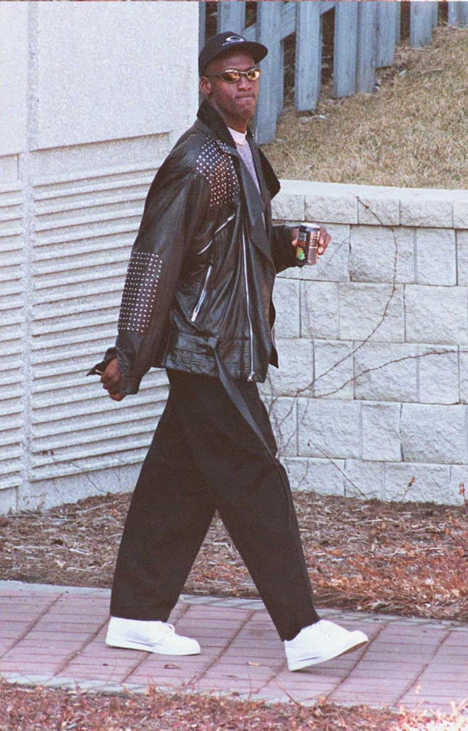 Well, damn! Michael wore this edgy leather jacket look while leaving a Chicago Bulls practice in 1995.