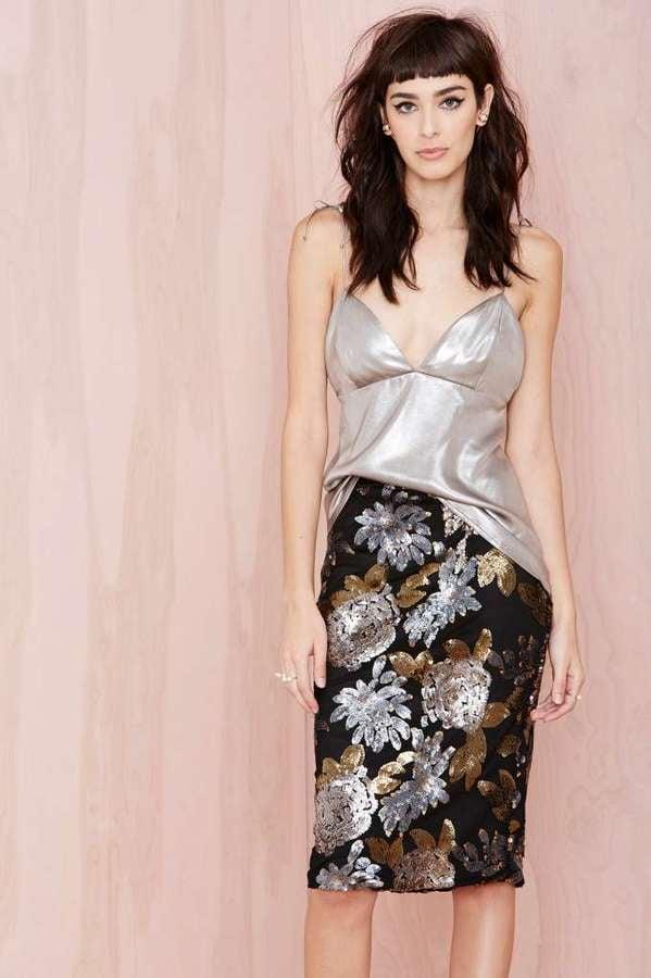 Nasty Gal Joa Metal Petal Sequin Skirt
