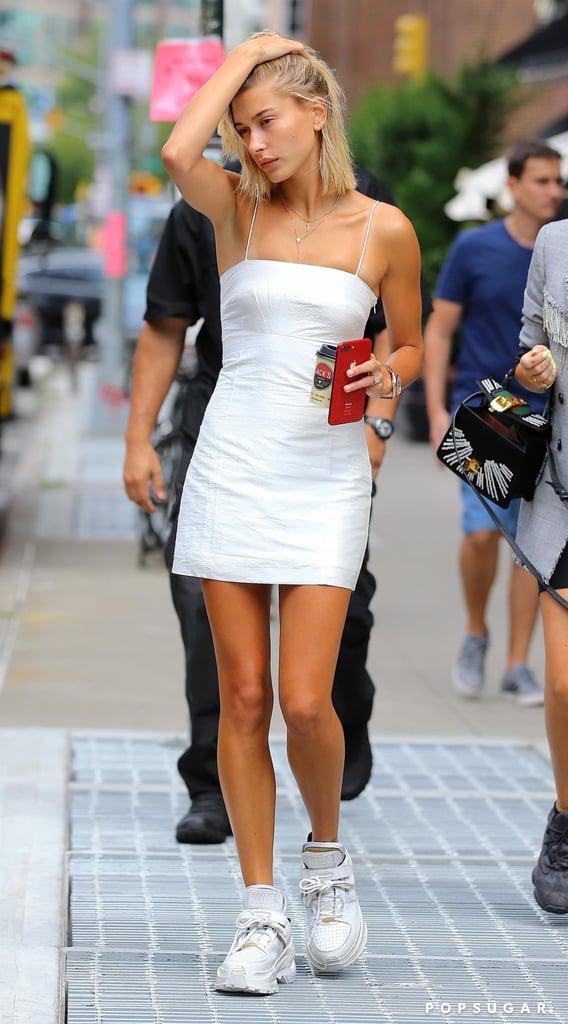 Hailey Baldwin White Minidress