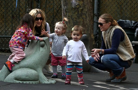 Sarah Jessica Parker has a fun afternoon at a playground with twin daughters Tabitha and Marion