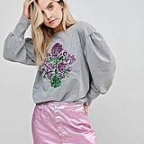 Chorus Petite Mutton Sleeve Sweater With Sequin Floral