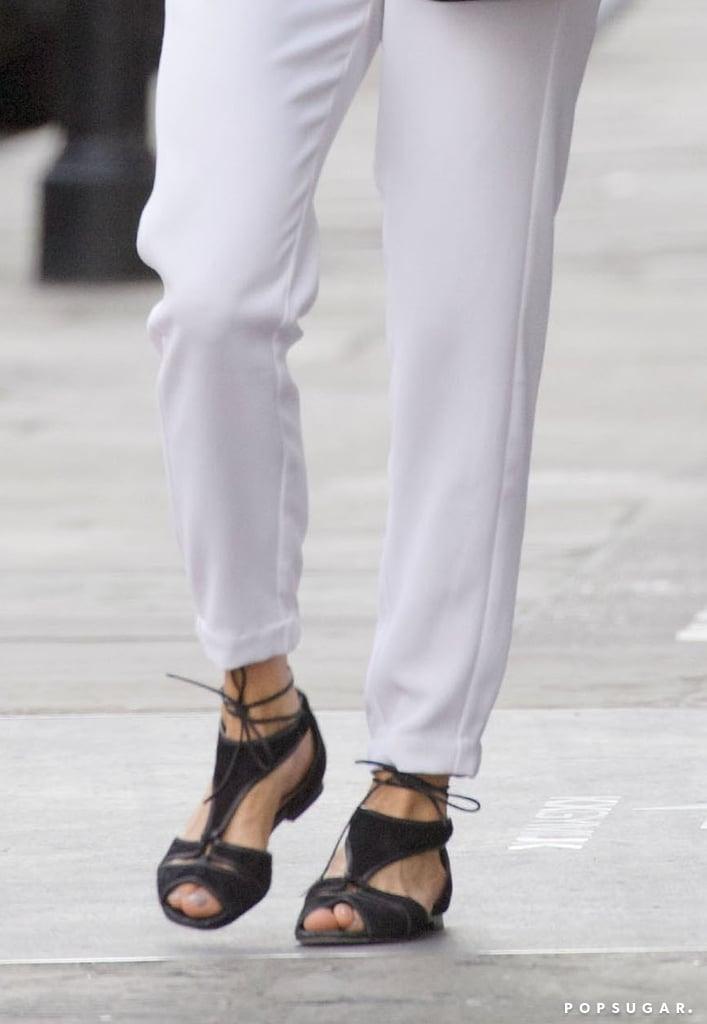 Pippa Middleton Black Lace Up Sandals Popsugar Fashion