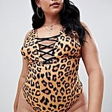 Wolf & Whistle Curve Lace-Up Swimsuit in Leopard Print