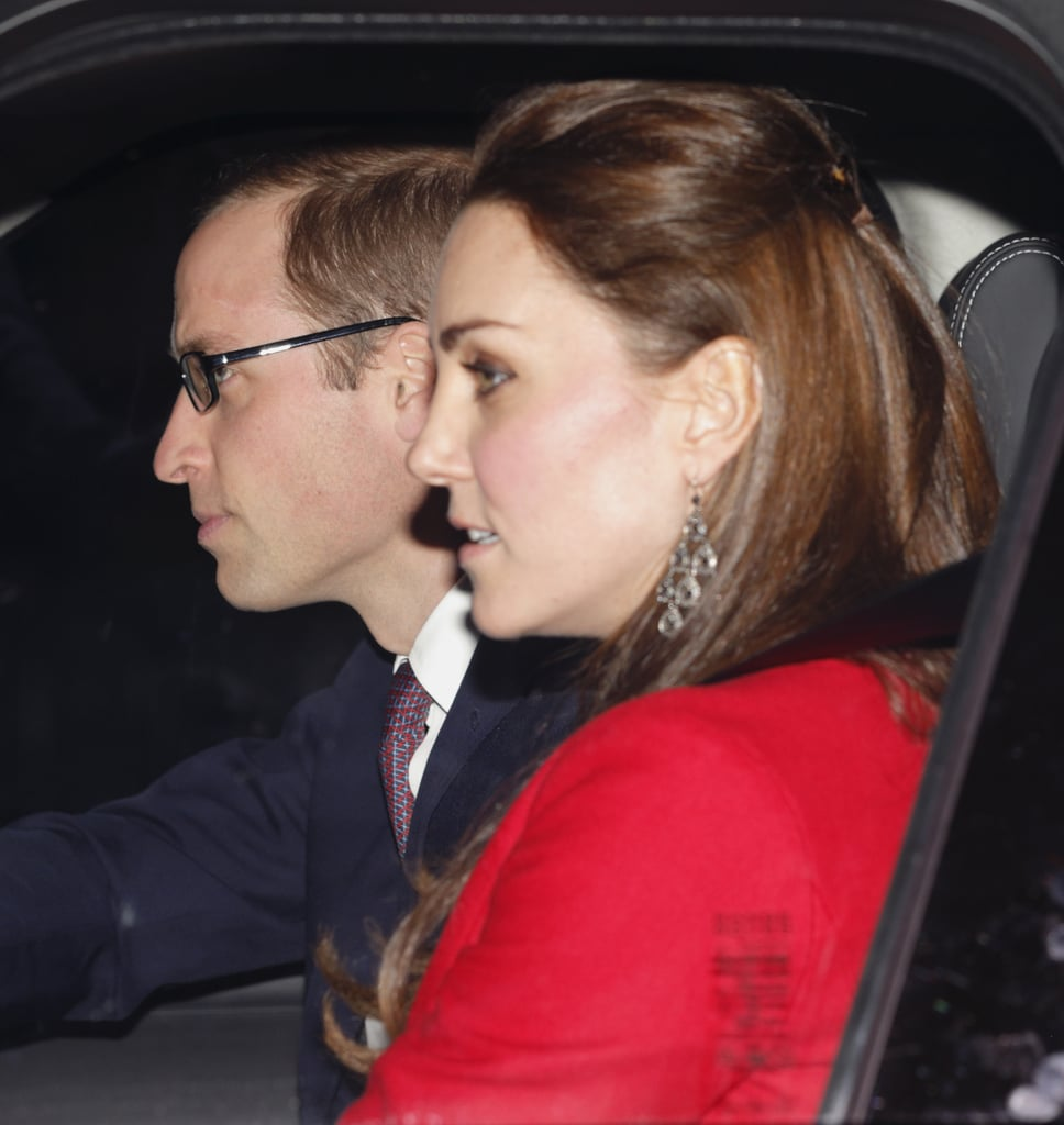 The Duke and Duchess of Cambridge helped Queen Elizabeth II kick off the Christmas season on Wednesday when they joined a number of other royals for the queen's annual pre-Christmas lunch at Buckingham Palace. Other guests included Prince George (who arrived with his parents, of course), Prince Harry, and Princess Beatrice, as well as a number of other members of the royal family. The queen's special lunch was created to allow her to celebrate the holiday season with the more distant royal family members, most of whom aren't invited to her Sandringham estate on Christmas Day, which is reserved for the core family. That means that Kate Middleton, Prince William, and Prince Harry will soon be on the move again closer to Christmas Day to celebrate with the queen and the princes' father, Prince Charles. On Thursday, with her luncheon officially wrapped up, the queen took the train to King's Lynn, where she will prepare the Christmas festivities ahead of her guests' arrival.