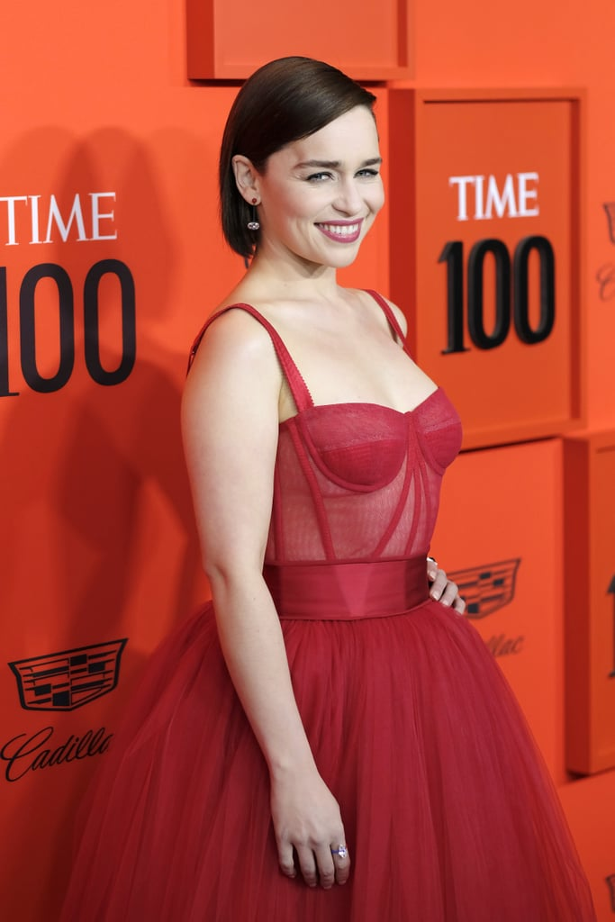 f82211986b4 Emilia Clarke s Red Dolce   Gabbana Dress 2019 Time 100 Gala ...