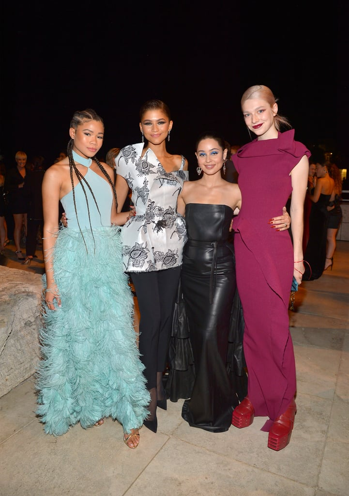 The cast of Euphoria reunited at the fifth annual InStyle awards in Los Angeles on Monday night, and whew, they looked good. While Zendaya dazzled in a structured, monochromatic look, her costars looked equally glamorous. Alexa Demie wore an all-black leather gown paired with her character's signature blue eye shadow, and Hunter Schafer rocked a stunning floor-length gown, adding chunky, red patent boots for a surprising edginess. Meanwhile, Storm Reid wore a gorgeous dress with high-necked geometric neckline and a floaty, feathered skirt, and Madeleine Arthur matched her blue and white striped outfit with a subtle blue eye look. The InStyle awards are always guaranteed to have a stunning red carpet — with an impressive guest list that reads like a who's who of Hollywood, women's sport, and pop culture. Among the award winners, The USA Women's National Football Team appropriately took out the Badass Women Award (and used the opportunity to continue their campaign for equal pay and social justice while doing it), and Christy Turlington won the Advocate Award for her 16 years of work with her own charity Every Mother Counts. Check out all the photos from the event ahead.