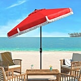 Red and White Fringe Tilting Outdoor Umbrella