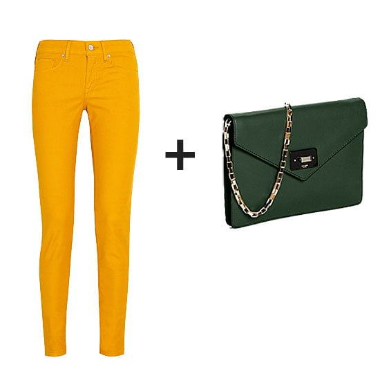 Rework your denim routine with a vibrant pair of yellow skinnies. You could top these with a navy blue cardigan for colorblocking bonus points, but the rich hunter green clutch is especially gorgeous against these bottoms.  Get the look:  Levi's Made & Crafted Empire Mid-Rise Skinny Jeans ($190) Kate Spade New York Madison Post Street Leather Shoulder Bag ($358)