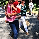 Katie Holmes gave Suri a lift as they spent the day in Central Park.