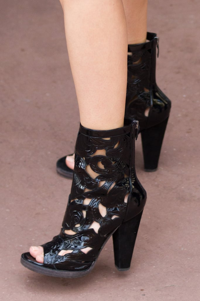 A zoomed-in look at Diane Kruger's amazing Balmain laser-cut booties.