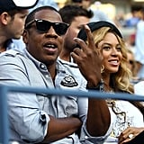 Jay-Z and Beyoncé Knowles at the US Open in Queens.