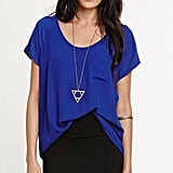 If you're looking for a cobalt piece that won't break your bank, then look no further than this Kirra cobalt chiffon shirt ($17, originally $23).