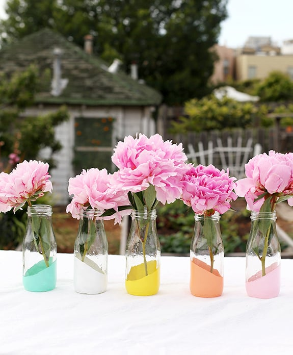 Pastel-Dipped Milk Bottle Vases