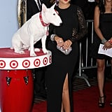 Christina Aguilera posed with the Target dog.