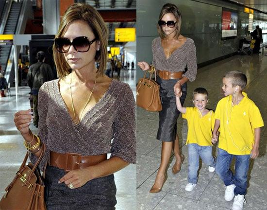 Photos of Victoria Beckham With Cruz and Romeo Beckham Arriving at Heathrow