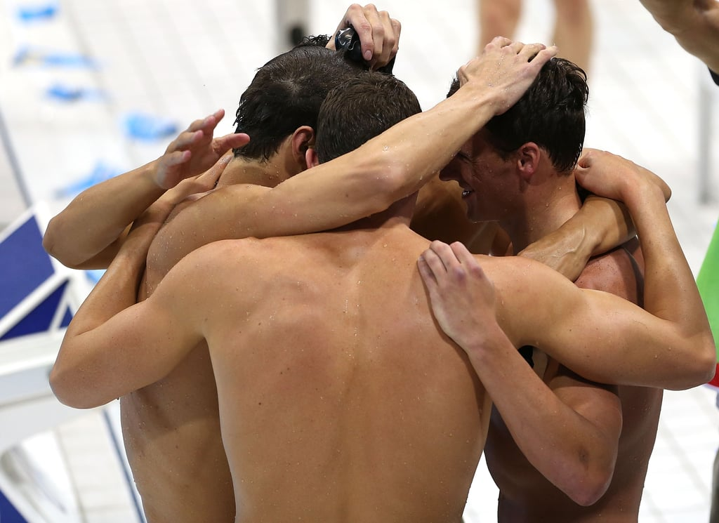 The US men's team took a moment to themselves after winning gold in the 4x200m freestyle relay.