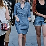 Dakota Fanning wore a denim dress on the set of Very Good Girls in NYC.