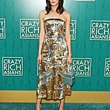 For the premiere of Crazy Rich Asians, she chose a gorgeous metallic midi dress.