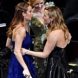 Kate greeted best actress winner Brie Larson, who also mingled with Cate Blanchett. Power trio!