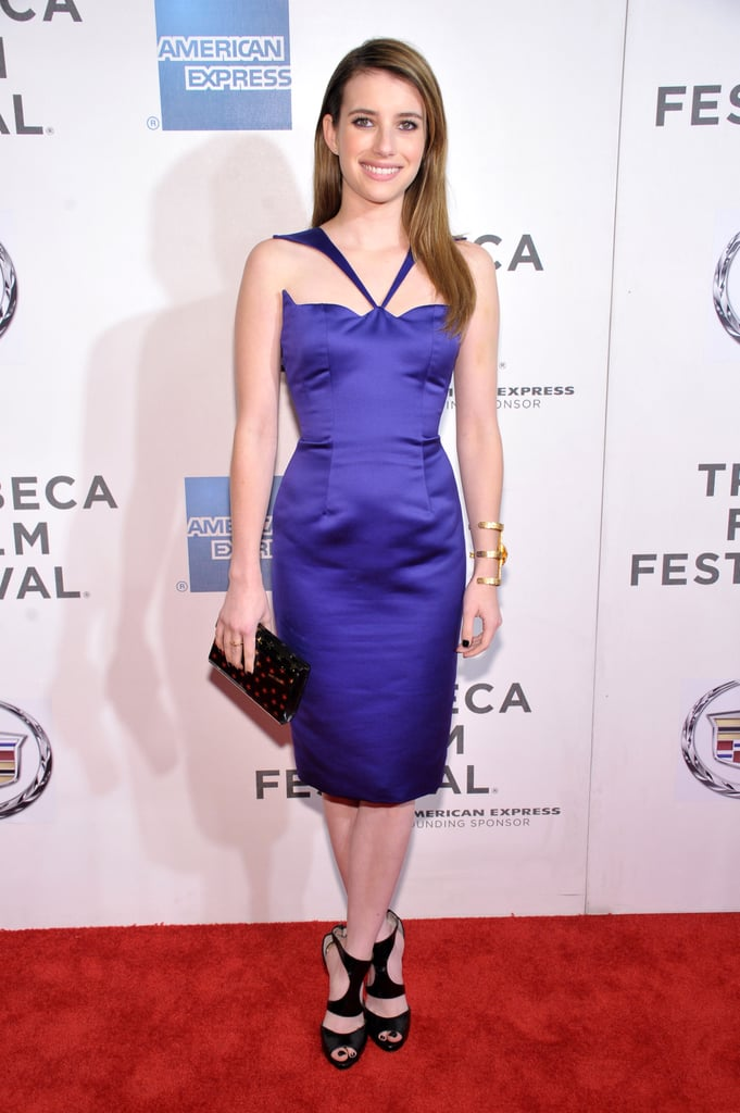 Emma Roberts walked the Adult World red carpet in a gorgeous purple Cushnie et Ochs knee-length sheath, pairing the look with edgier black heels.