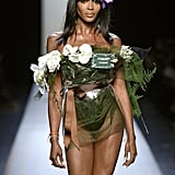 Naomi Campbell strutted her stuff at Paris Fashion Week on Wednesday.