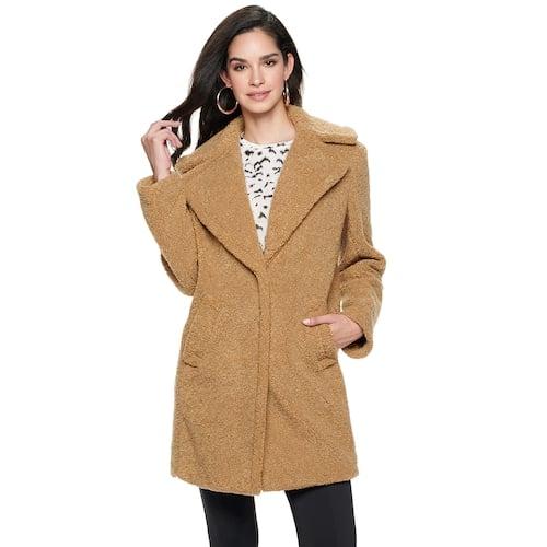Nine West Notch Collar Faux-Fur Coat