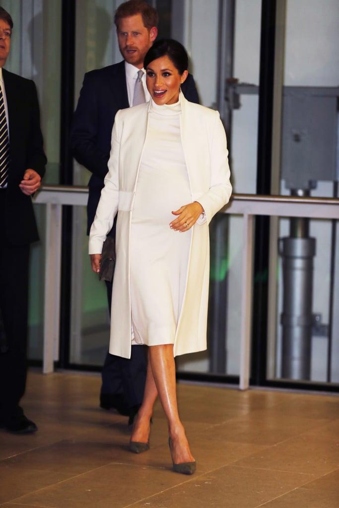 Meghan Markle White Calvin Klein Dress And Coat 2019