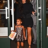North stepped out in August 2016 wearing a leopard print slip, choker and sneakers.
