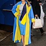Blake Lively Wearing a Blue Jacket With a Pop of Color